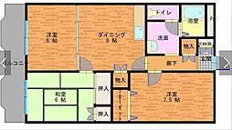 コーラルリーフ 3階3DKの間取り