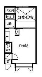 ウエストU 2階1DKの間取り