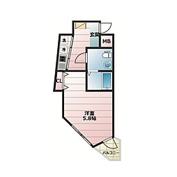 JR山手線 恵比寿駅 徒歩15分の賃貸マンション 4階1Kの間取り