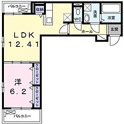 Grisaille 2階1LDKの間取り