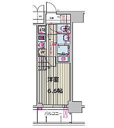 プレサンス天王寺ノースヴィアーレ 11階1Kの間取り