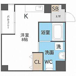 南海線 粉浜駅 徒歩5分の賃貸マンション 3階ワンルームの間取り