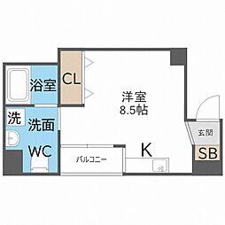 南海線 粉浜駅 徒歩5分の賃貸マンション 6階ワンルームの間取り