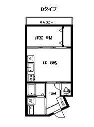 福岡市地下鉄空港線 藤崎駅 徒歩25分の賃貸マンション 3階1LDKの間取り