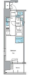東京メトロ日比谷線 入谷駅 徒歩3分の賃貸マンション 11階1Kの間取り