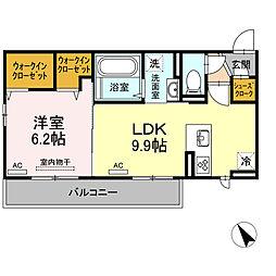 メゾン沖浜 2階1LDKの間取り