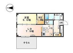 JR阪和線 堺市駅 徒歩12分の賃貸マンション 1階1LDKの間取り
