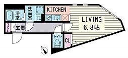 ブランシェ東麻布 4階ワンルームの間取り