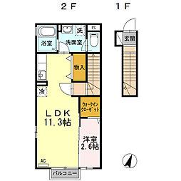 Tーroom B 2階1LDKの間取り