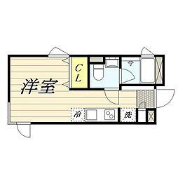 PASEO新宿3丁目II 3階ワンルームの間取り
