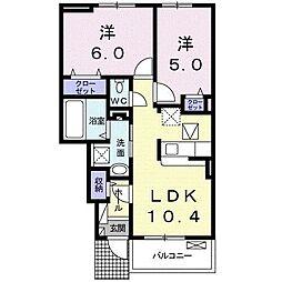 プラスワンコート II 1階2LDKの間取り