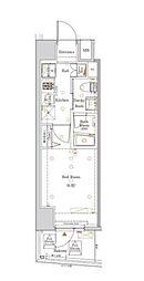 都営大江戸線 西新宿五丁目駅 徒歩22分の賃貸マンション 11階1Kの間取り