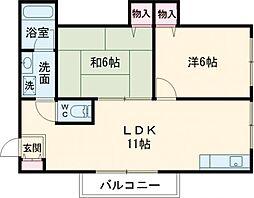 ラ・フレール 2階2LDKの間取り