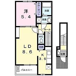 シトラセイト泉佐野中町B 2階1LDKの間取り