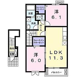 プランドールII 2階2LDKの間取り