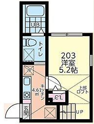 小田急小田原線 相模大野駅 バス19分 麻溝車庫下車 徒歩8分の賃貸アパート 2階1Kの間取り
