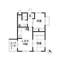 東武野田線 北大宮駅 徒歩7分の賃貸マンション 4階2LDKの間取り