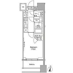 ザ・パークハビオ代々木初台 5階1Kの間取り
