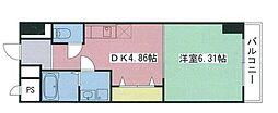 JR豊肥本線 滝尾駅 徒歩12分の賃貸マンション 7階1DKの間取り