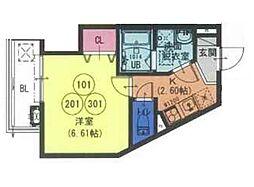 近鉄大阪線 長瀬駅 徒歩2分の賃貸アパート 2階1Kの間取り