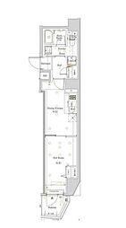 都営大江戸線 西新宿五丁目駅 徒歩22分の賃貸マンション 7階1DKの間取り