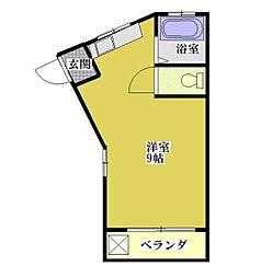 コーポエーワンA 1階ワンルームの間取り