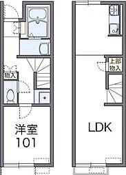 JR東北本線 白石駅 徒歩23分の賃貸アパート 1階1LDKの間取り