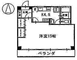 タケダビル 3階1Kの間取り