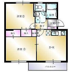 多賀台ヒルズマンションB 4階2DKの間取り