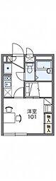 JR山陽本線 庭瀬駅 徒歩14分の賃貸アパート 2階1Kの間取り