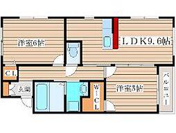 JR仙山線 陸前落合駅 徒歩13分の賃貸アパート 2階2LDKの間取り