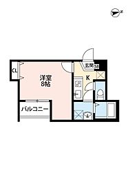 メゾングレース新松戸 2階1Kの間取り