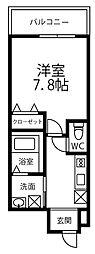 ドリーム フジ 桜川 2階1Kの間取り