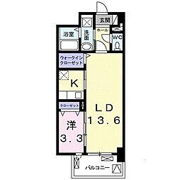 阪急神戸本線 六甲駅 徒歩9分の賃貸マンション 2階1LDKの間取り