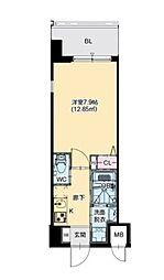 JR大阪環状線 芦原橋駅 徒歩7分の賃貸マンション 8階1Kの間取り