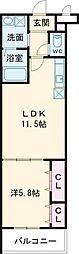 メナメゾン日根野II番館 2階1LDKの間取り