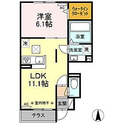 JR東海道本線 浜松駅 バス18分 鉄工団地南停下車 徒歩4分の賃貸アパート 1階1LDKの間取り