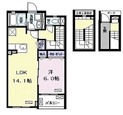 流山アパートB 3階1LDKの間取り
