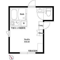 JR総武線 中野駅 徒歩15分の賃貸アパート 3階ワンルームの間取り