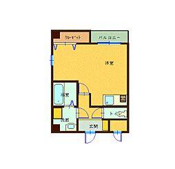 森塚第12マンション 8階ワンルームの間取り