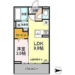 サニーコート 2階1LDKの間取り