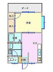JR東海道本線 小田原駅 徒歩10分の賃貸アパート 1階1DKの間取り