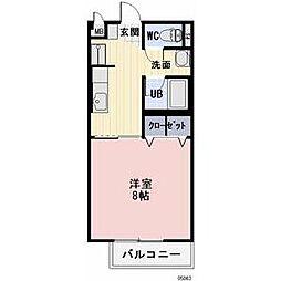 タカヤハイツA 2階1Kの間取り