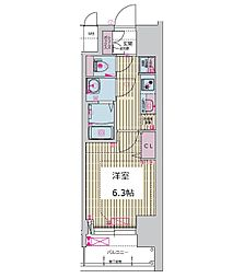 プレサンス谷町九丁目ディセオ 12階1Kの間取り