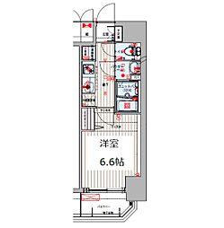 Osaka Metro谷町線 四天王寺前夕陽ヶ丘駅 徒歩8分の賃貸マンション 8階1Kの間取り