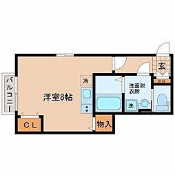 仙台市営南北線 台原駅 徒歩5分の賃貸アパート 1階ワンルームの間取り