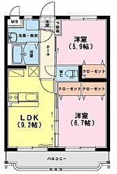 ユーミーアローレ 2階2LDKの間取り