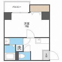 JR東西線 新福島駅 徒歩6分の賃貸マンション 7階1Kの間取り