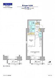 JR山手線 高田馬場駅 徒歩12分の賃貸マンション 12階1LDKの間取り