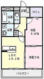 ハートフルマンション桃李 1階2LDKの間取り